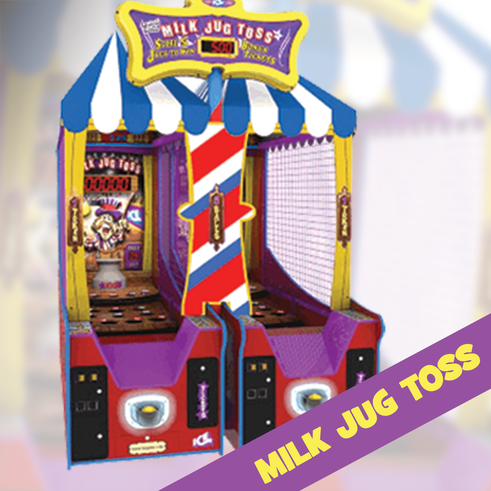 STEP RIGHT UP! Enjoy this CLASSIC carnival style game and toss to win! Land your ball in the milk jug and win higher points. SOUNDS EASY RIGHT? Think again - come down and give it a shot.