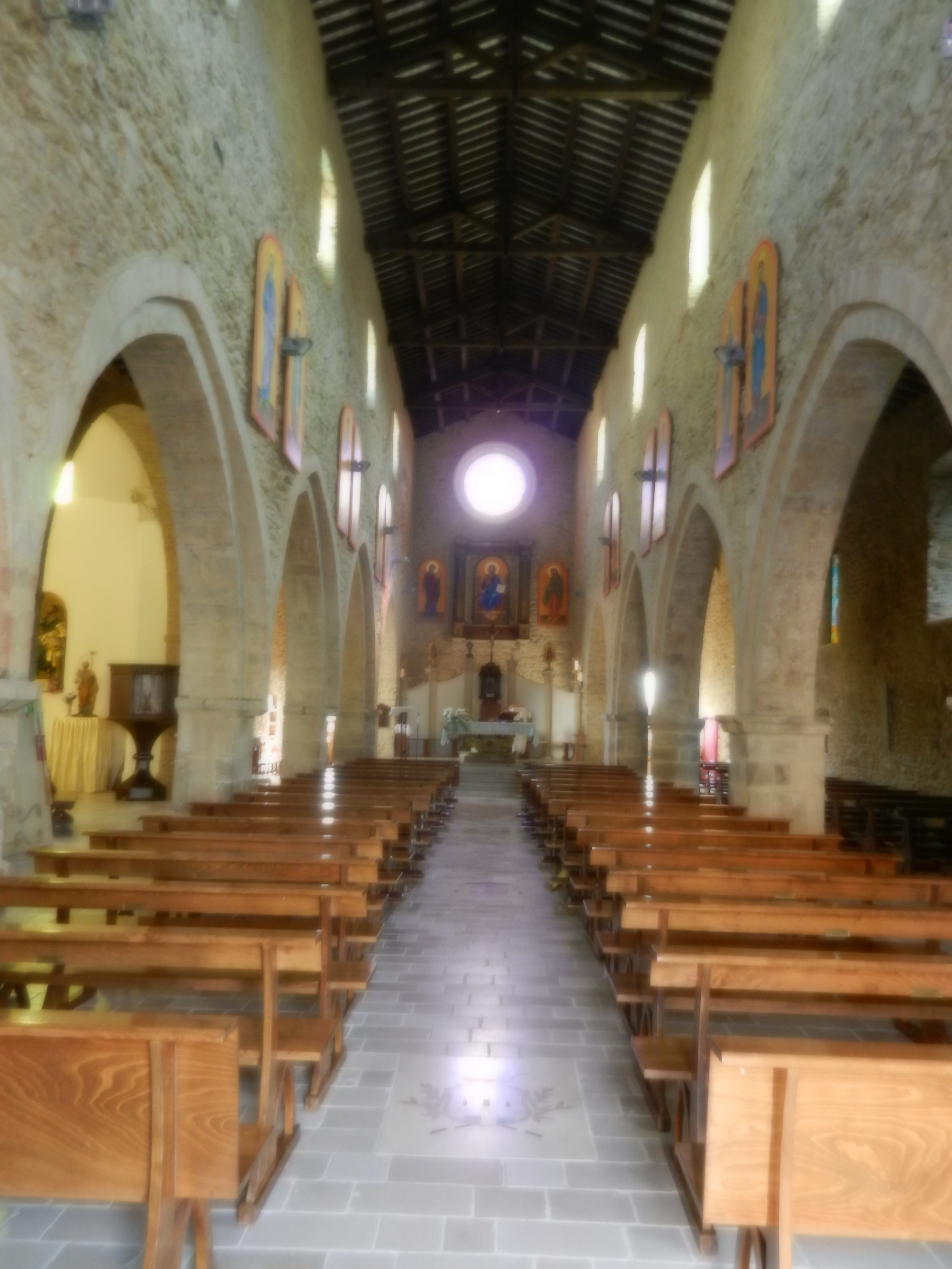 The interior of San Matteo the Apostolo Church in Rocca San Giovanni built in the 12th Century. Generations of Helen's family including her grandparents attended San Matteo.