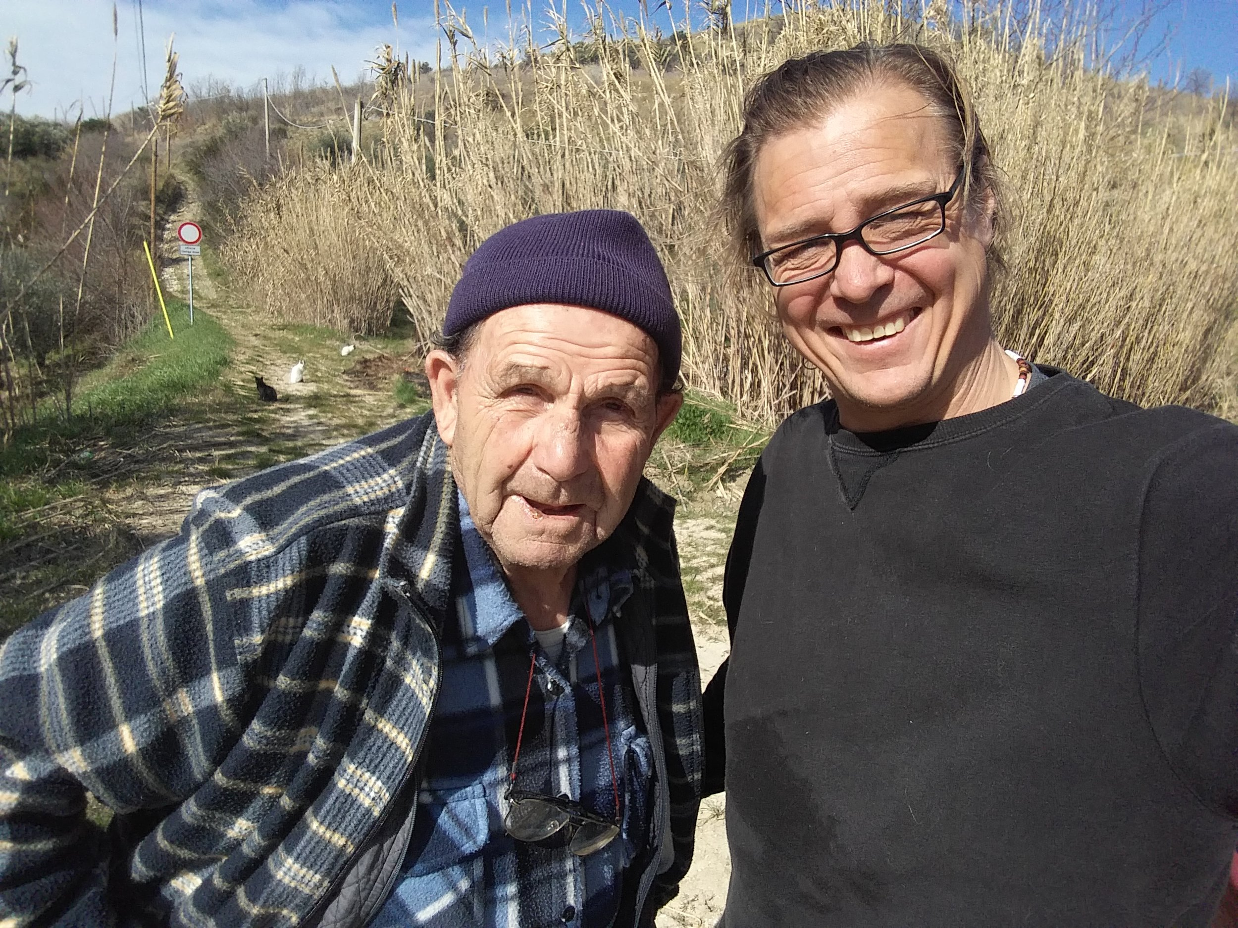 Antonio and I a couple of weeks ago near his olive trees.