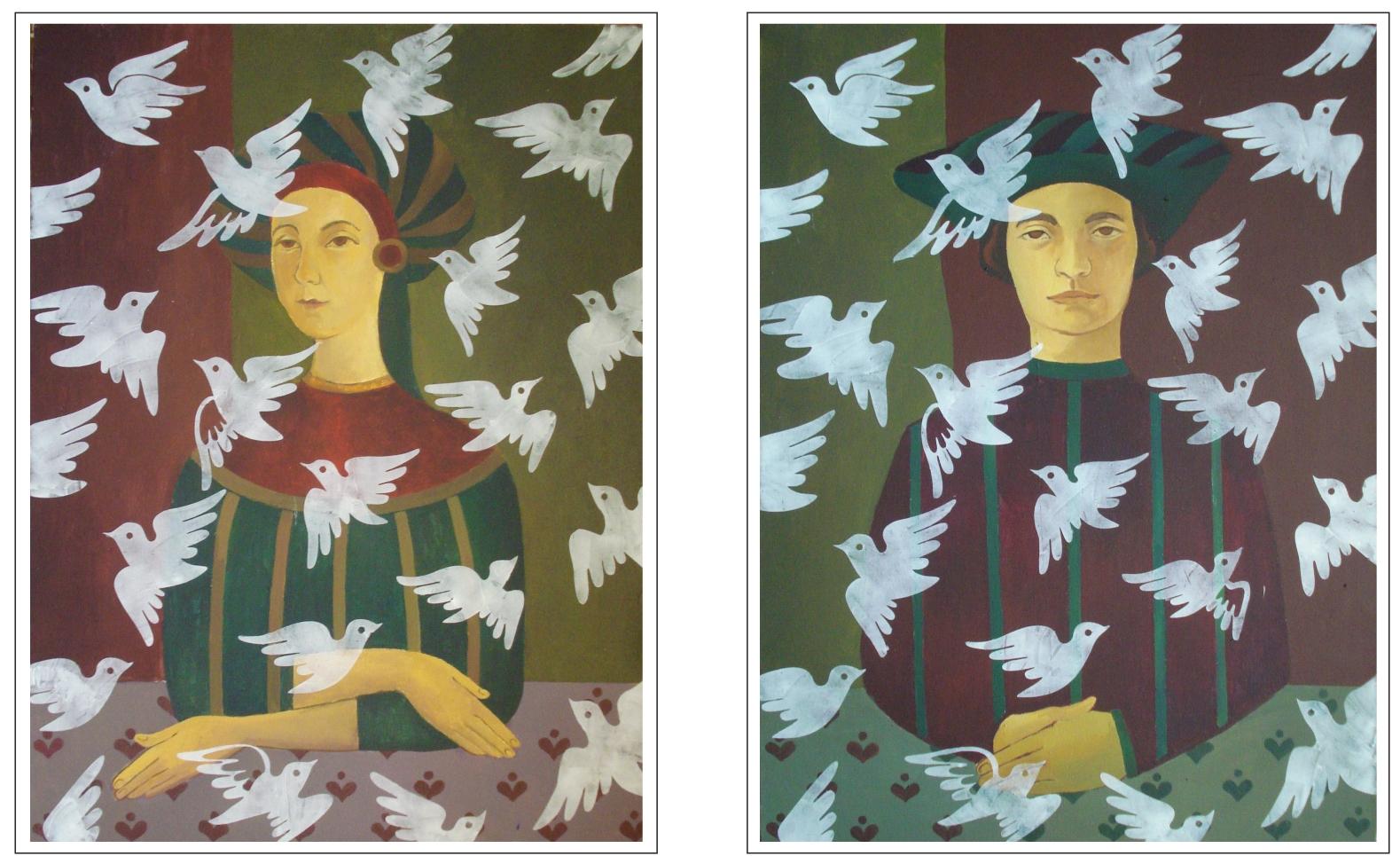 Семейство Пернатых_диптих (х., акрил, 80*60 см, 2014)