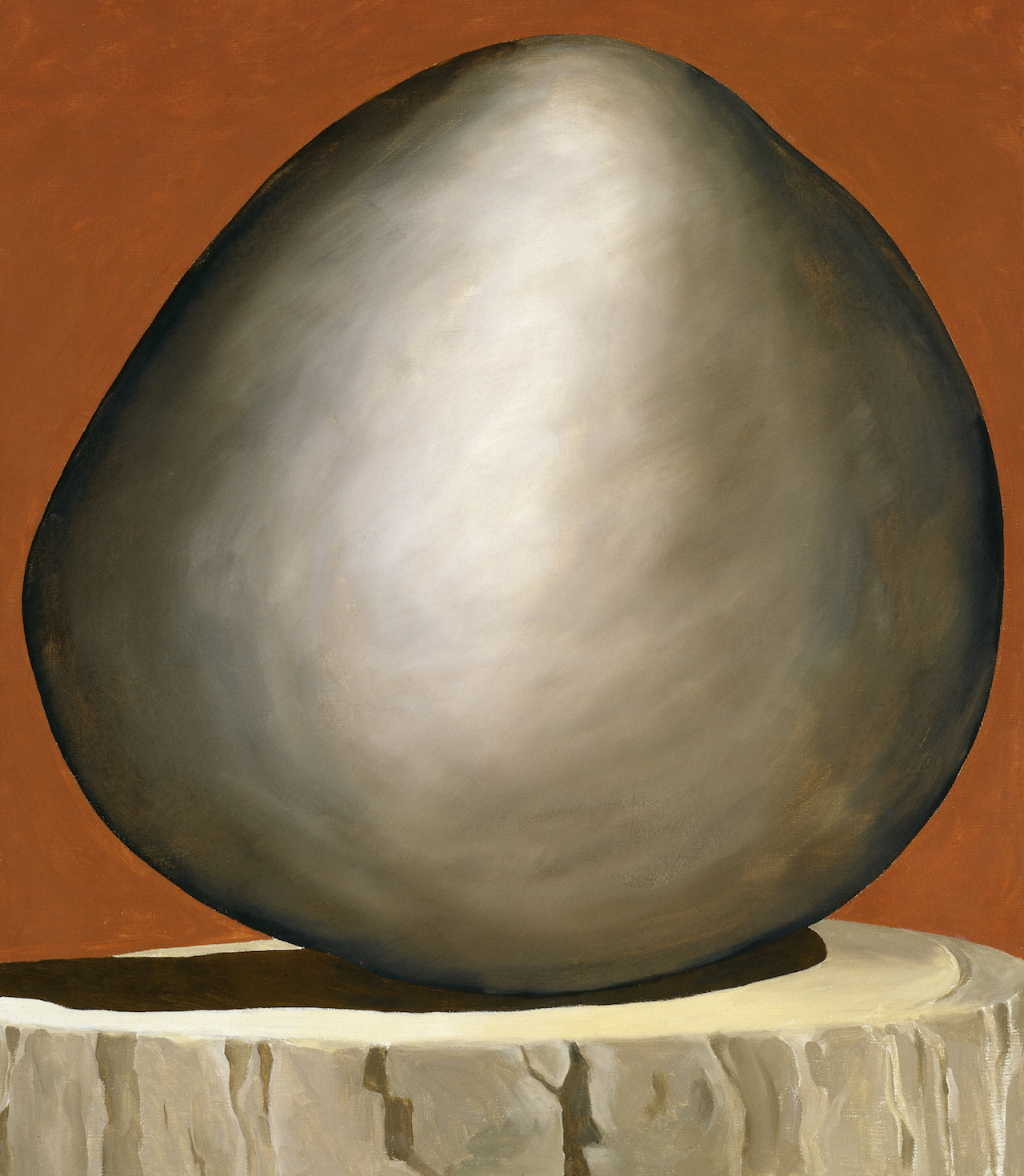 Georgia O'Keeffe, Black Rock on Red, 1971, oil on canvas, 30 x 26 inches