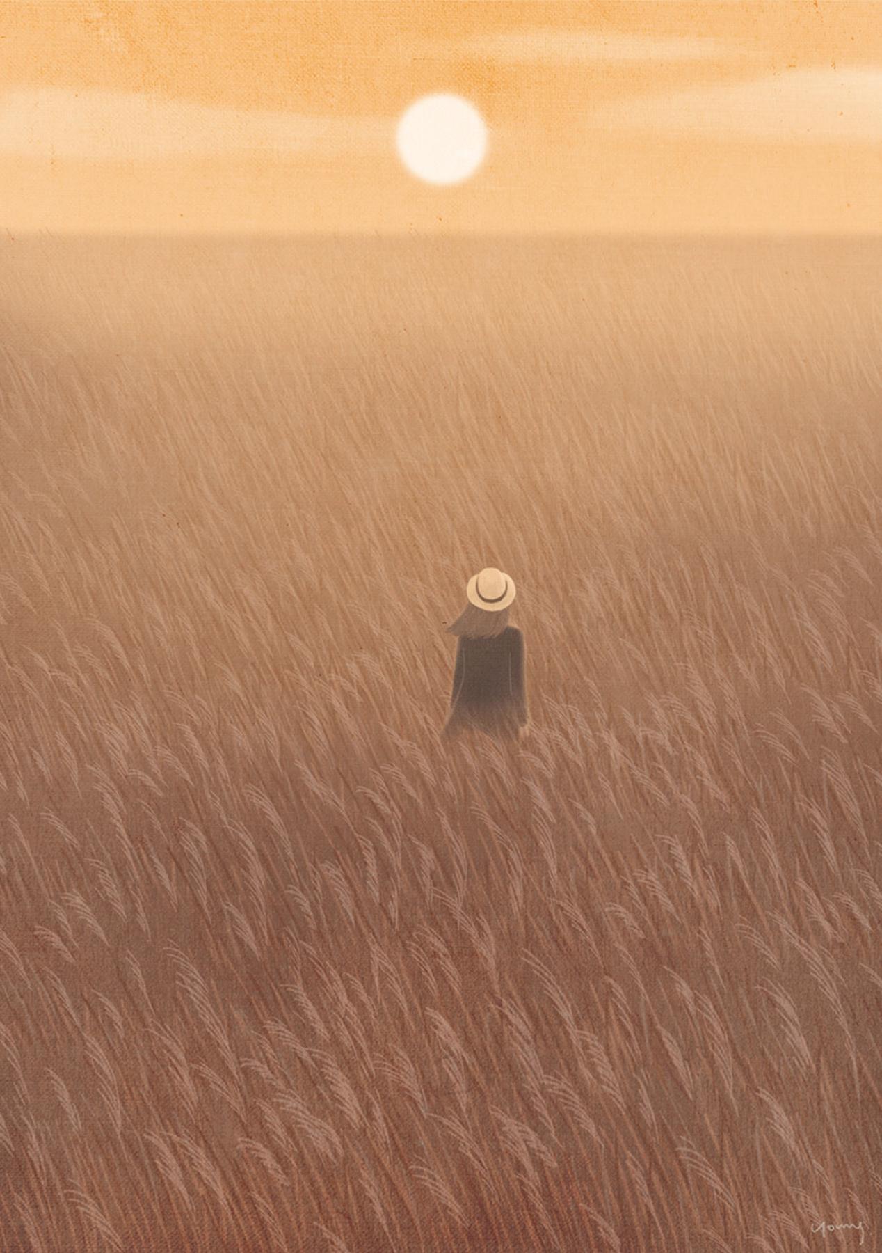 Artwork: #일러스트 # 가을 # 가을빛 # 갈대 # 노을 via grafolio