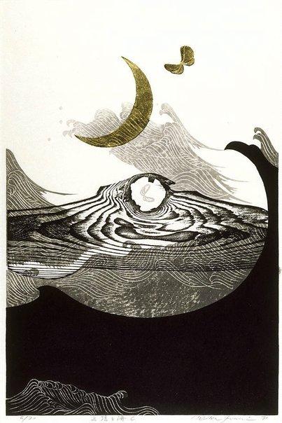 By Reika Iwami - New moon and sea - C