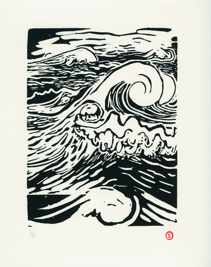 The Wave, linocut print in the limited edition version