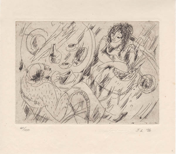 Two People at a Table   c. 1940 etching 19.5 x 22.2cm edition 100