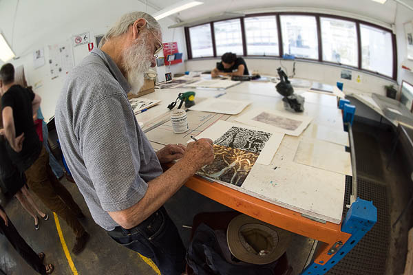 Kevin Connor working on the etching plate for the limited edition.
