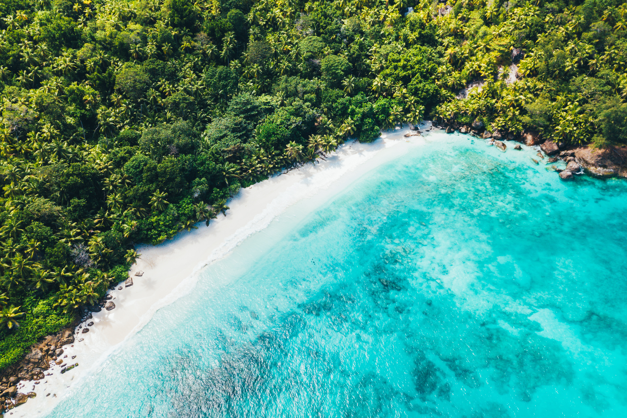 A dramatic aerial of Honeymoon Beach, a private beach on North Island in the Seychelles with granitic boulders and talcum powder sand fringed by coconut trees and turquoise water