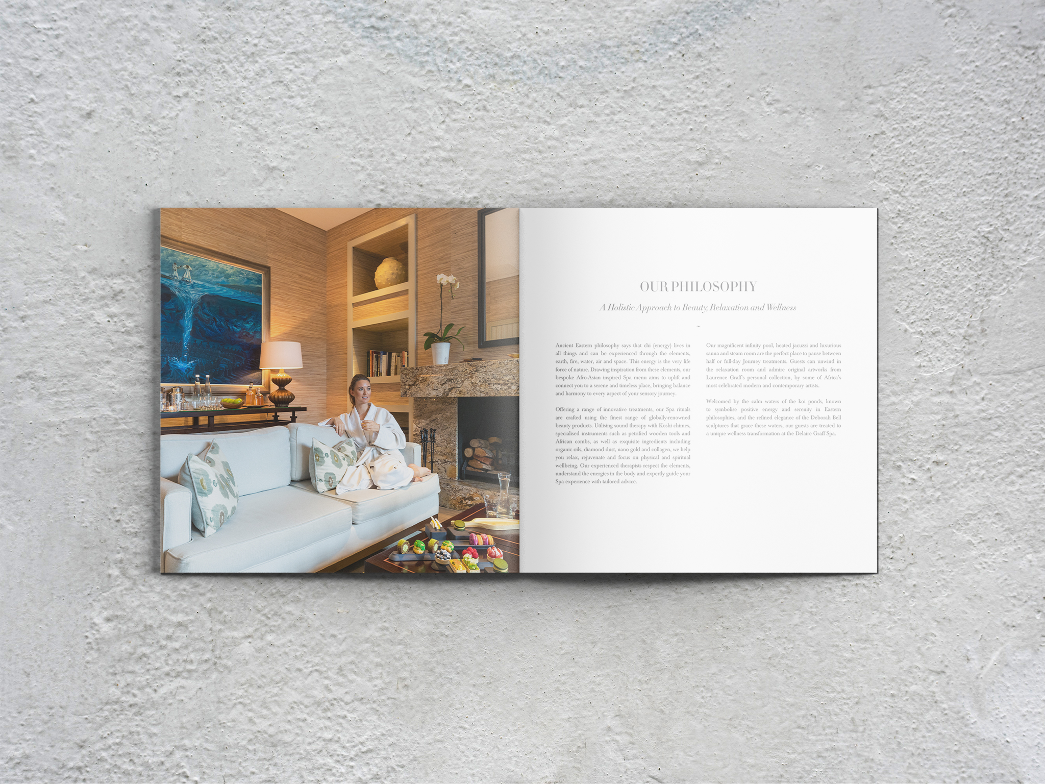 Delaire Graff Spa wellness menu explaining the spa philosophy with relaxation room image of girl enjoying high tea