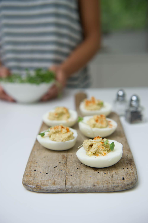 Dairy free Deviled Eggs.Gluten free, Vegetarian.