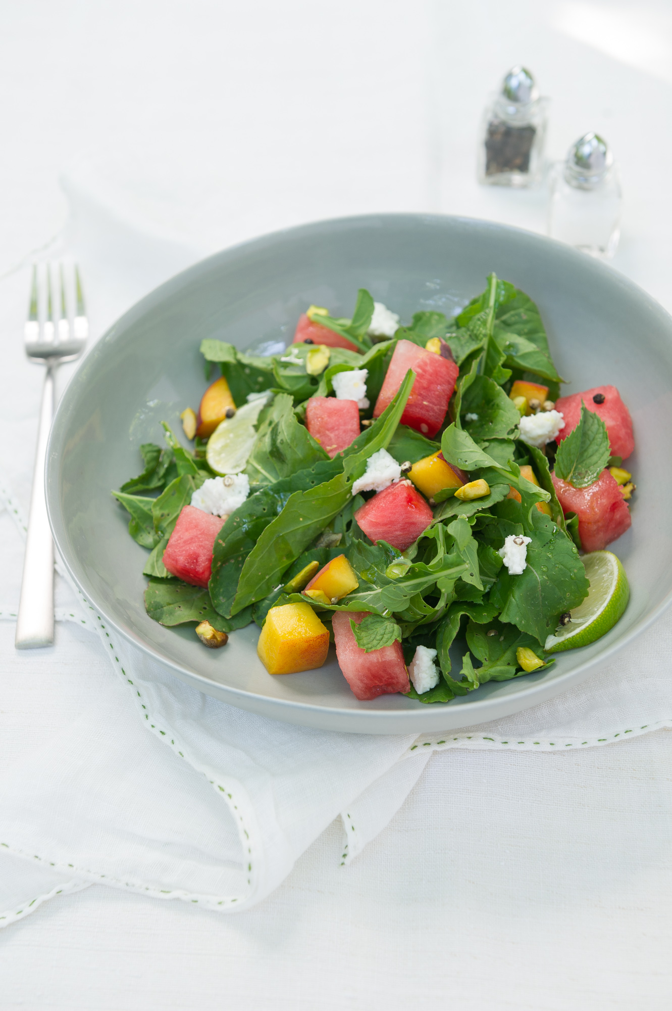 Watermelon and Peach Salad with a Honey and Lime Dressing. Gluten free.