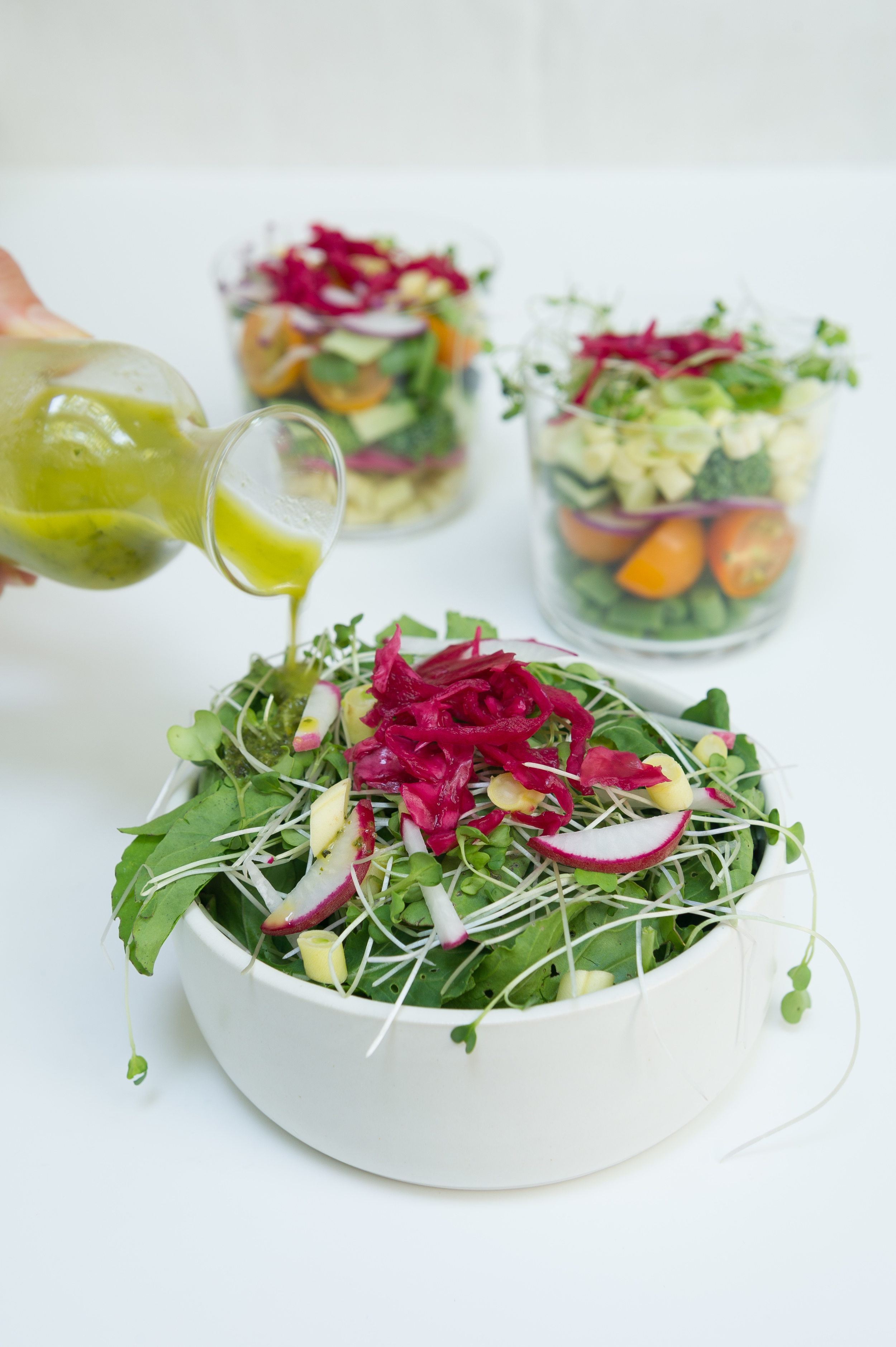 Chopped Salad with Orange, Mint and Basil Dressing