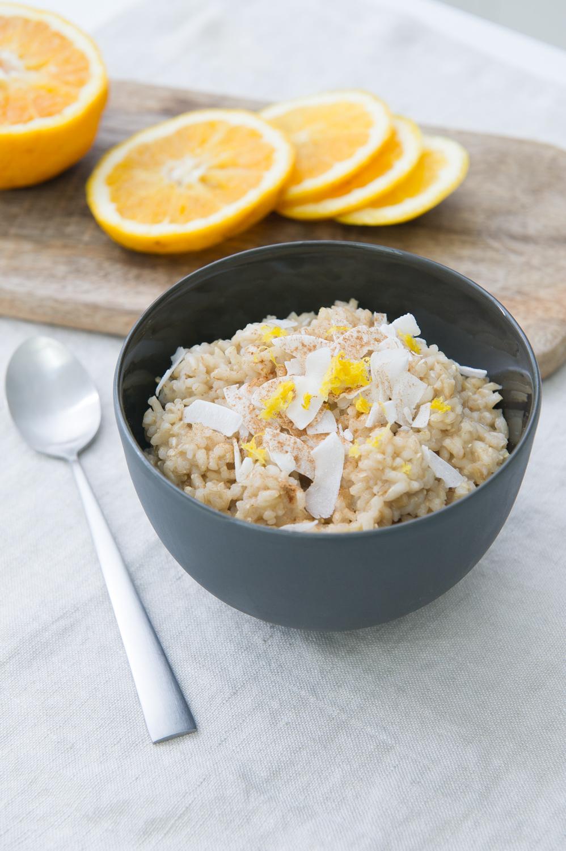 Orange and Ginger Brown Rice Pudding. Dairy free, Vegan.