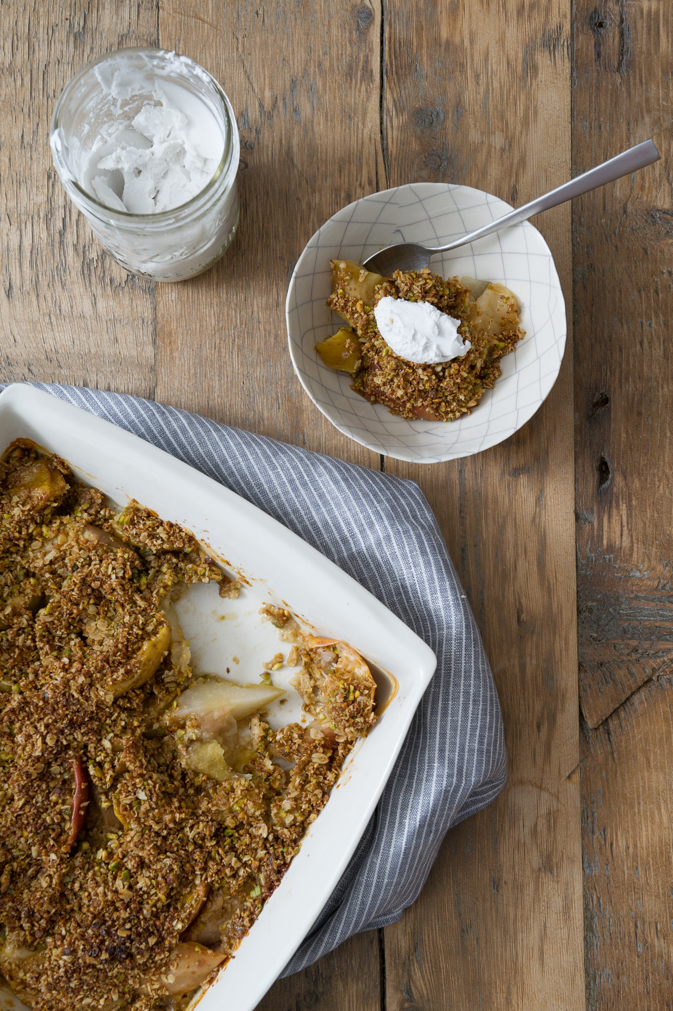 Ginger Apple and Pears with a Pistachio & Cardamom Crumble