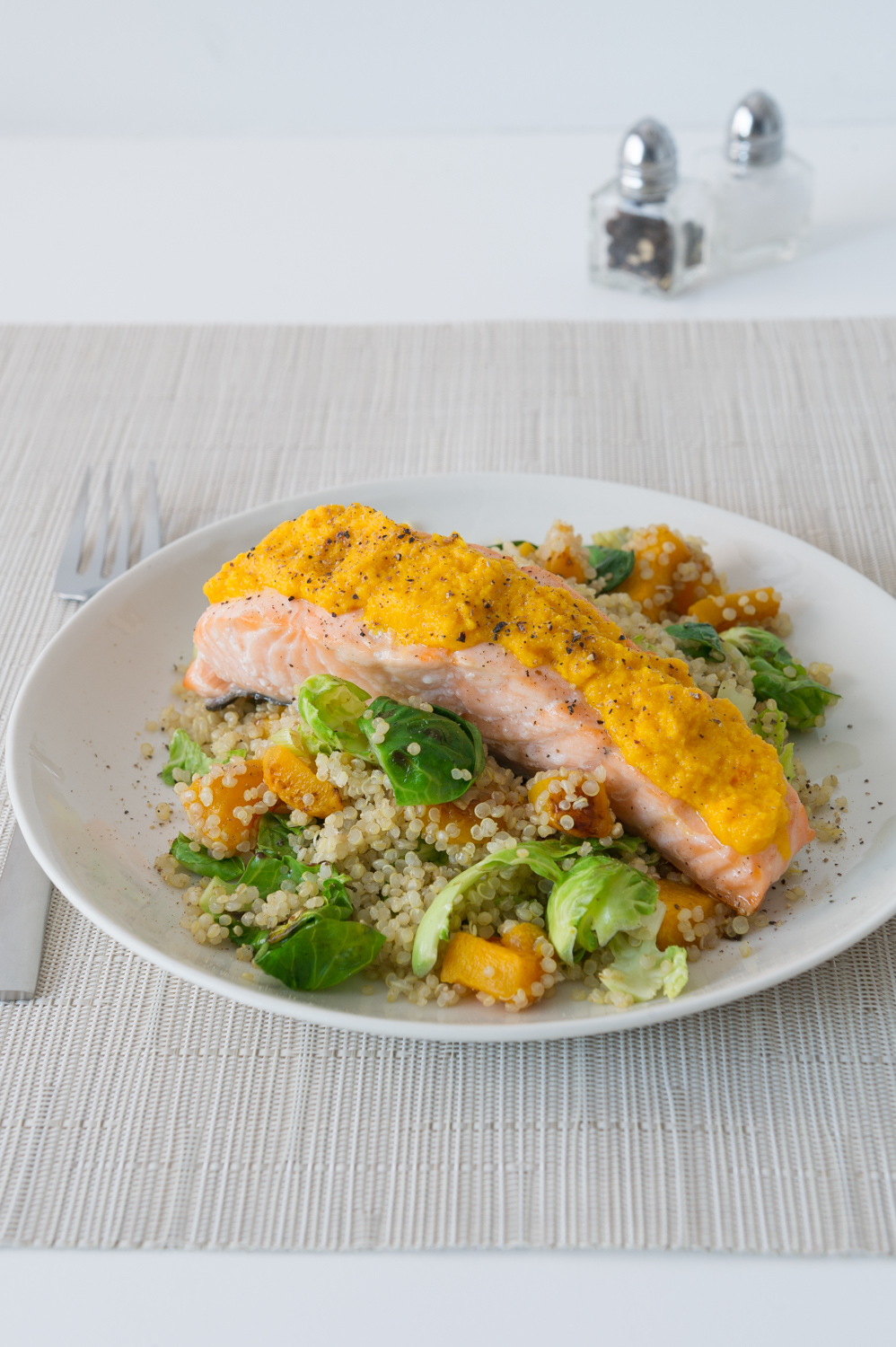 Pumpkin, Leek and Brussel Salad with a Carrot, Ginger and Orange Dressing