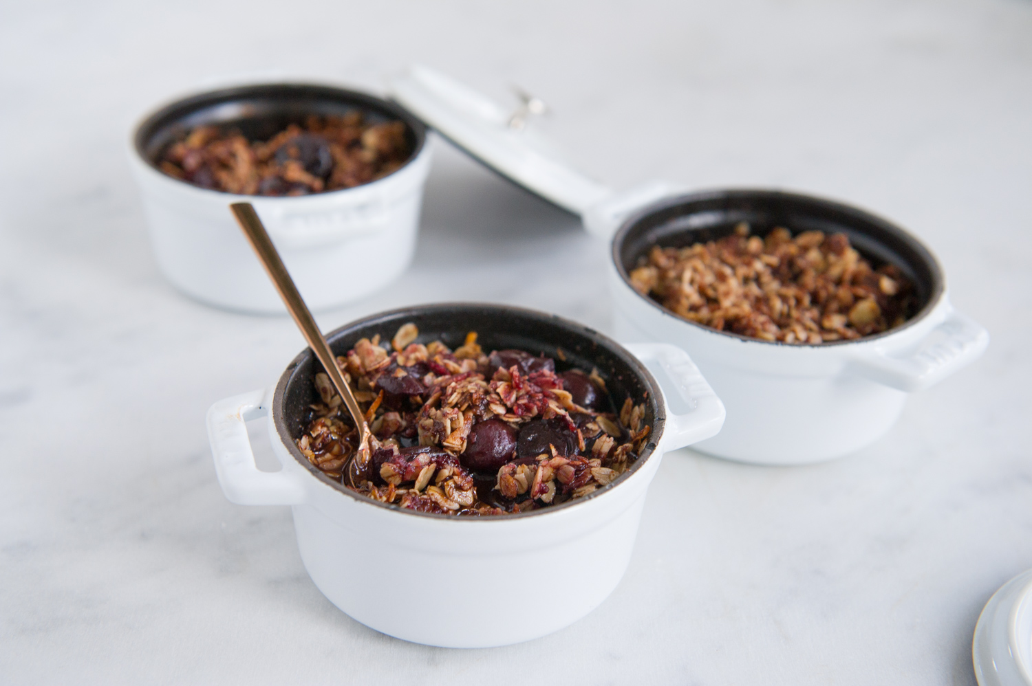Baked Cherries with a Chocolate Almond Crumble. Gluten free, Vegan, Dairy free.