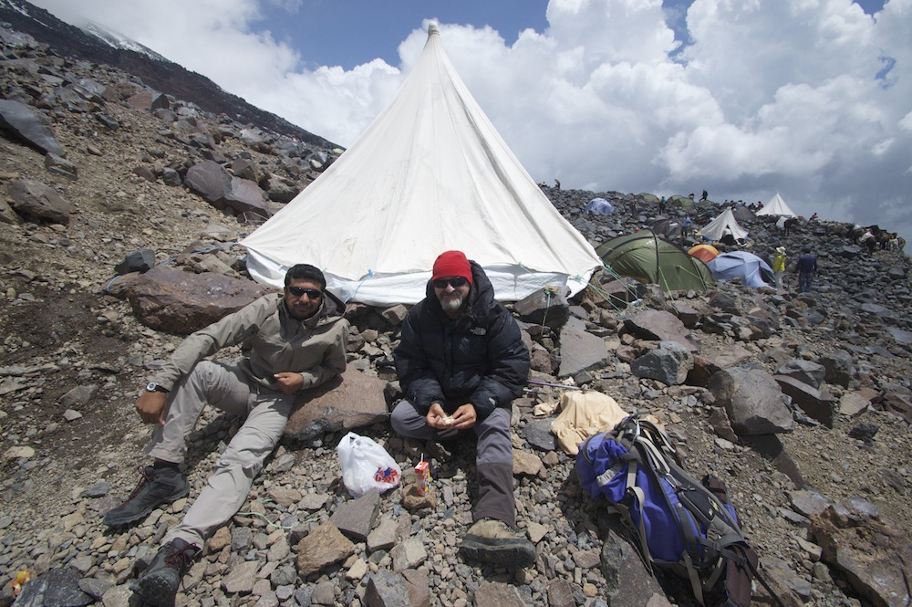 Alcan and Calil, mountain guides from Middle Earth Travel, at the high camp on Mt Ararat.