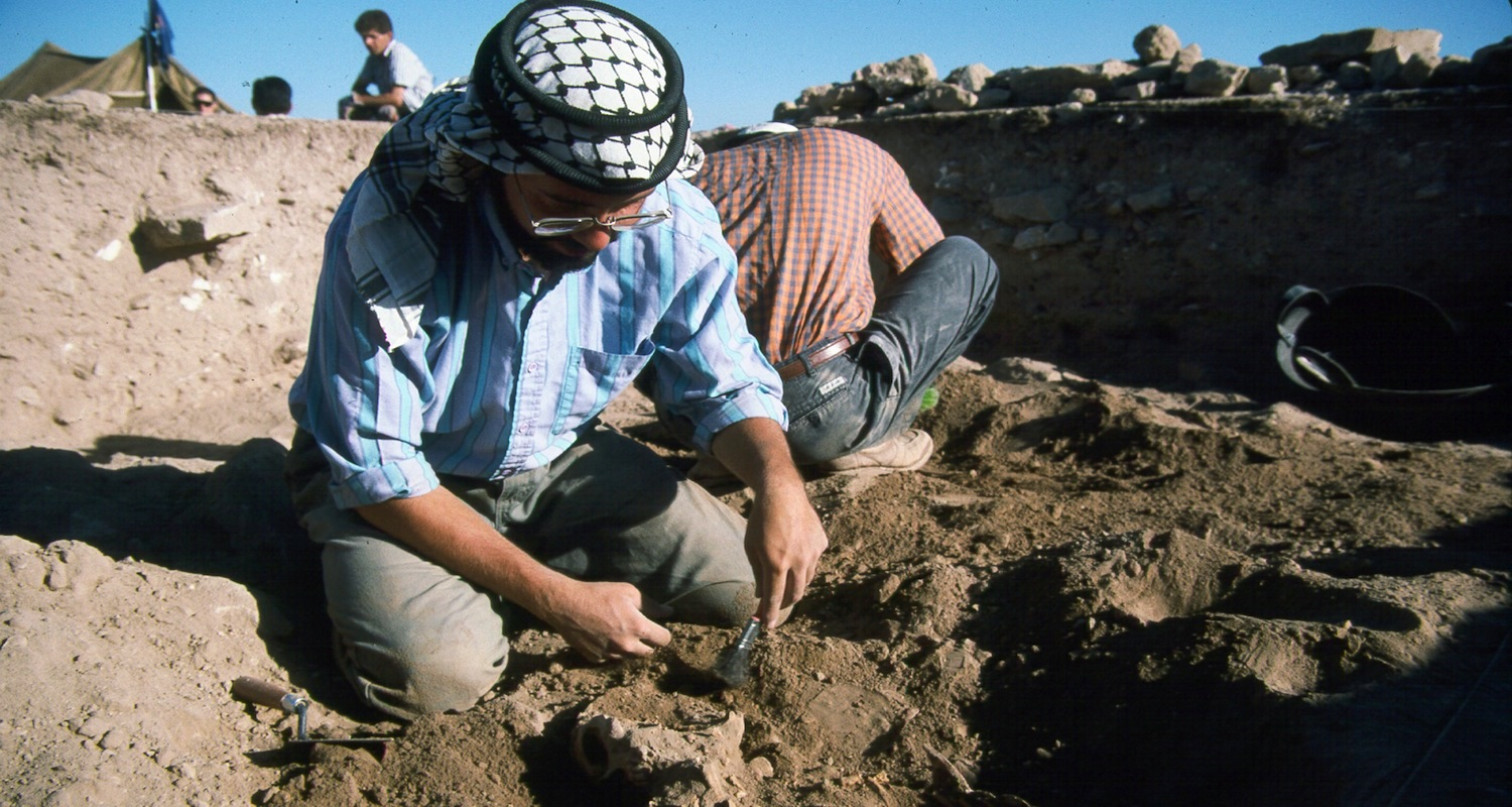 Mike Leeper excavates a human burial. Tell Jalul Excavations (Jordan), 199 at Tell Jalul (Jordan).