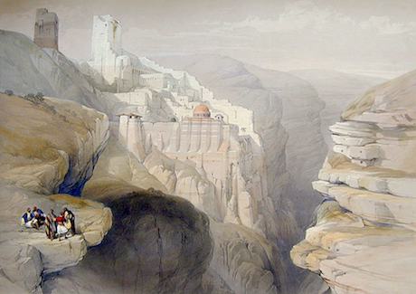 Another David Roberts lithograph of Mar Saba. His sketch romantically portrays the canyon of the Kidron, a Jerusalem stream that winds through the wilderness and empties into the Dead Sea near Qumran. Image from here.