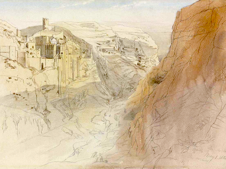 """This ink and wash of the monastery of Mar Saba was done in the year 1858 by Edward Lear. His style is quite warm and distinctive, as are his nonsense poems and limericks. Who has not heard of his most famous ditty, """"The Owl and the Pussycat""""? The source for this painting is here ."""