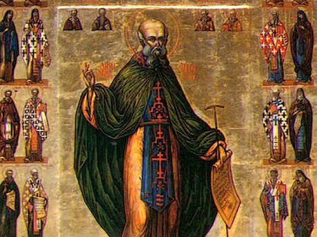 Saint Sabbas the Sanctified as pictured on a Russian icon. Image from here .