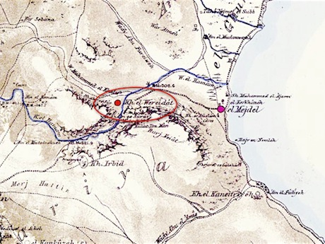 Detail of the region from the PEF survey of 1870. The site of Hamam is labeled Khirbet el Wereidat and circled in red. It is positioned where the wadi opens out to the sea. I have highlighted the course of the Wadi Hamam in blue. Source is  here .