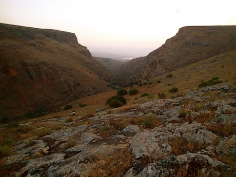 View east into the Wadi Hamam. The northern edge of the Sea of Galilee appears.