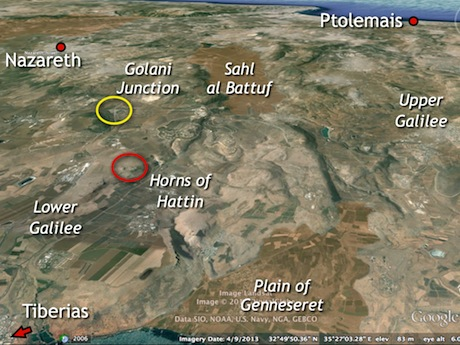 Google Earth offers a bird's eye view of many features in the region. The Roman road described here is found just northeast of the Golani Junction (inside yellow circle). I dead reckon my way from there toward the Horns of Hattin (inside red circle).