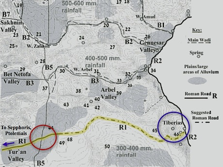 Modified map from Uzi Liebner's Settlement and History in Hellenistic, Roman, and Byzantine Galilee: An Archaeological Survey of the Eastern Galilee (2009). The road I seek is Liebner's R1, highlighted in yellow. The interchange is inside the red circle.
