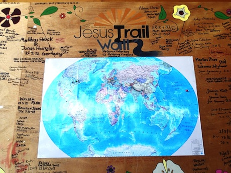 """The Jesus Trail Wall at the """"Green Goat."""""""