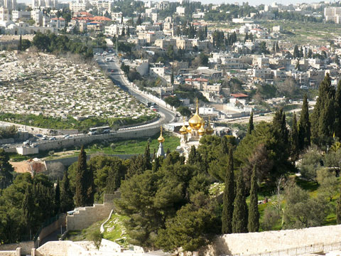 View to the Russian Orthodox Church on the slopes of the Mount of Olives.