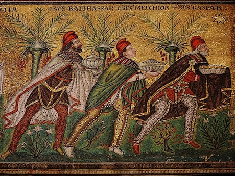 Image of the Wise Men bearing gifts. This mosaic is from the New Basilica of Saint Appollinaris in Ravenna, Italy. Image from  here