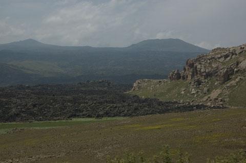 Volcanic flows at the base of Mt Tondrak.