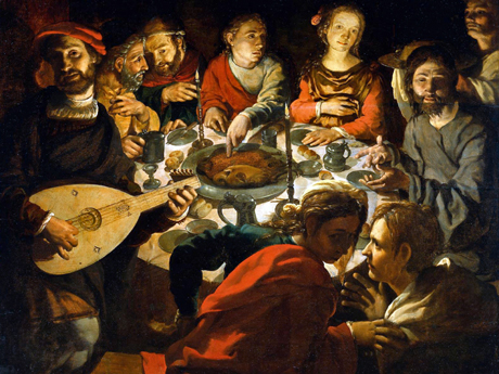 "My Cana feast doesn't look anything like this. But it is entertaining, no? Contrast the two female faces. The mandolin adds a nice touch. ""The Marriage at Cana"" is a 16th c painting by Jan Vermeyen.  Source ."