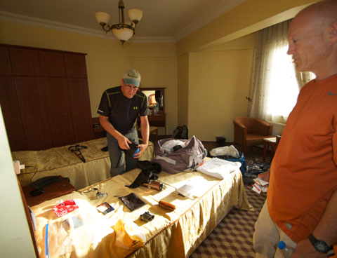 Brad and Mark pack their gear.