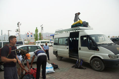 Gear bags go on top of the vehicle.