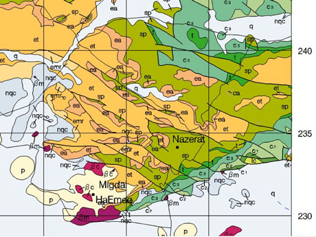 Geological map of southwestern Galilee. Detail of online map from Geological Survey of Israel. See ftp://ftp.gsi.gov.il/250k_maps/Carmel.jpg.