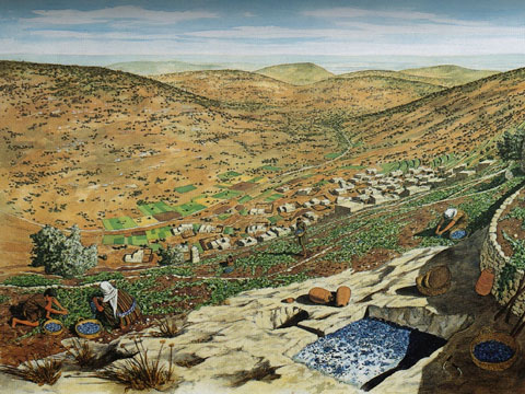 Interpretive painting of first century Nazareth. The view from the ridge. Note the distinctively shaped hill on the horizon. Illustration from Crossan and Reed, Excavating Jesus (2003).