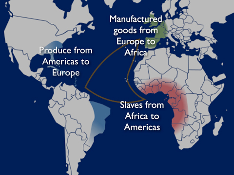 The triangular trade of the 17th century. Image modified from  here .