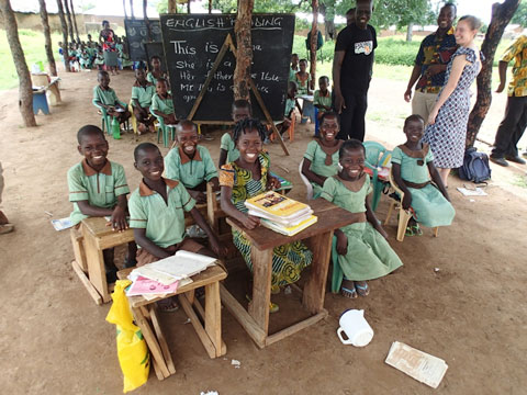 """An open air """"school house"""" of three """"rooms"""" managed by one teacher."""