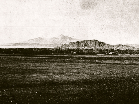 View to the Citadel at Van. Note the promontory rising from the plain. Image from H. F. B. Lynch,  Armenia Travels and Studies II  (1901: Fig. 138).