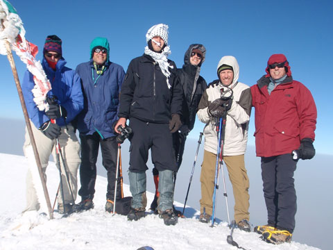 Group picture on the summit. L to R: Keith, Brad, Tanner, Greg, Mark, and Tommy.