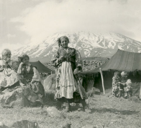 Children and herder's tent at the base of the mountain (From the Patterson Collection).