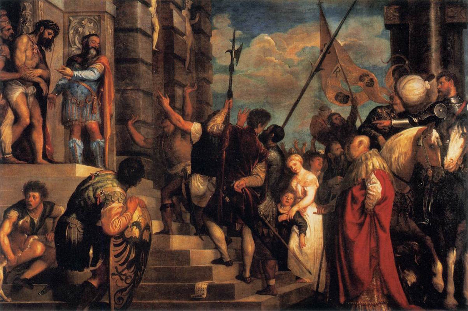 """""""Ecce Homo,"""" as imagined by the 16th century Titian (Tiziano Vecelli). Note elements contemporary with the artist's own time such as the polearms in the center of the scene or the round white Tülbend on the head of the man on the right. Image from here ."""