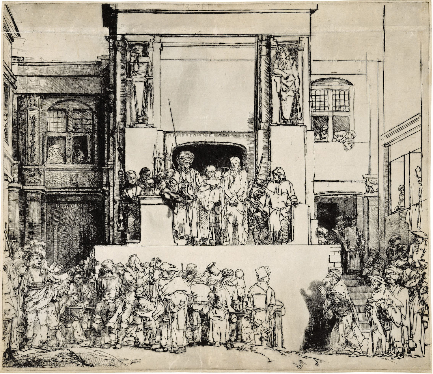 """""""Ecce Homo"""" or """"Christ Presented to the People,"""" by Rembrandt van Rijn (1655). Notice the stiff symmetry of the """"stage,"""" buildings, and arches. Several versions of this drypoint have been preserved, each showing a reworking of select details of the scene. This image is from here ."""
