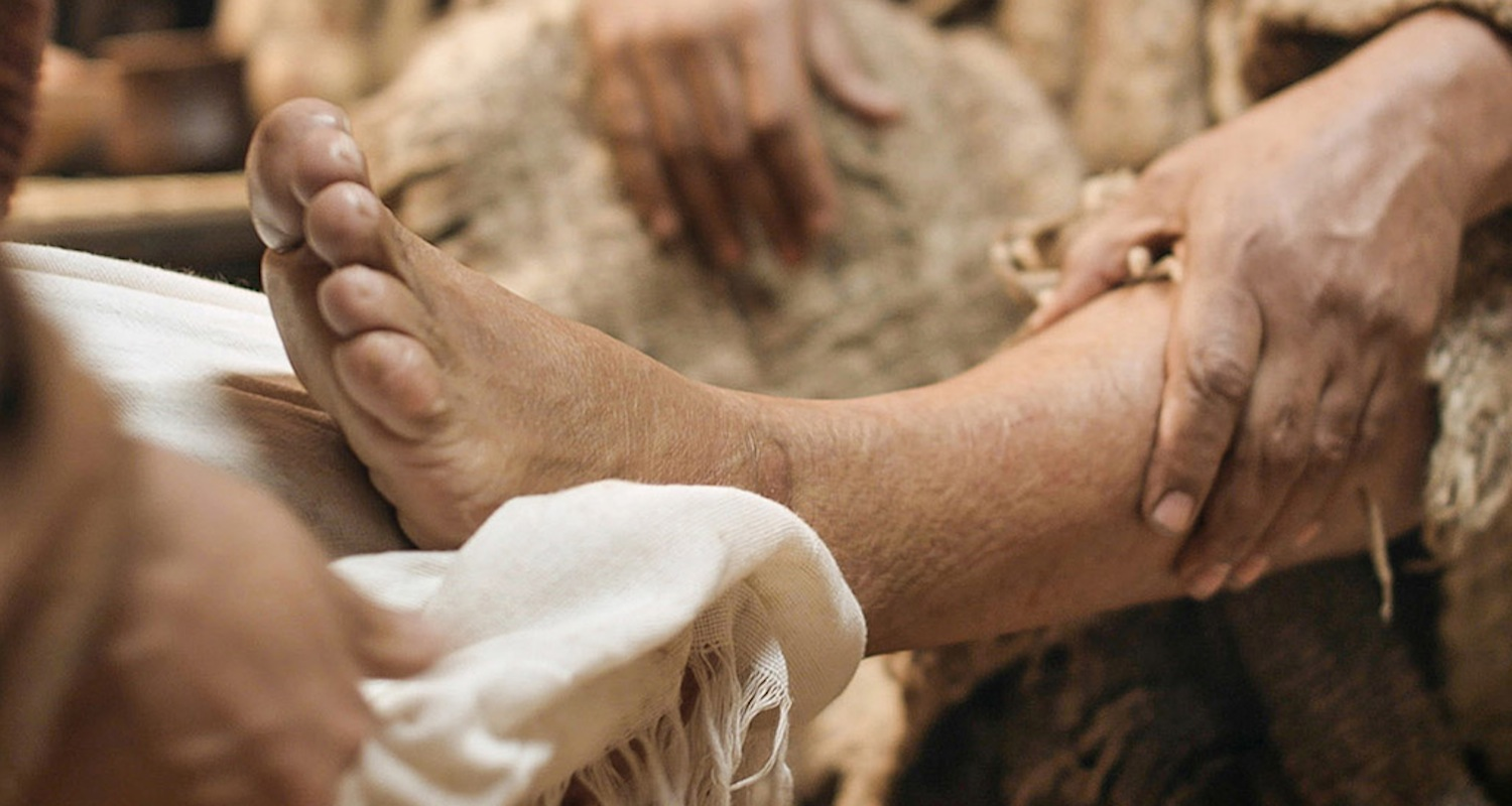 Jesus washes the feet of his disciples.  Image from  here.
