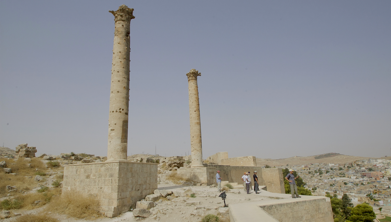 Two columns rise from Urfa's citadel.