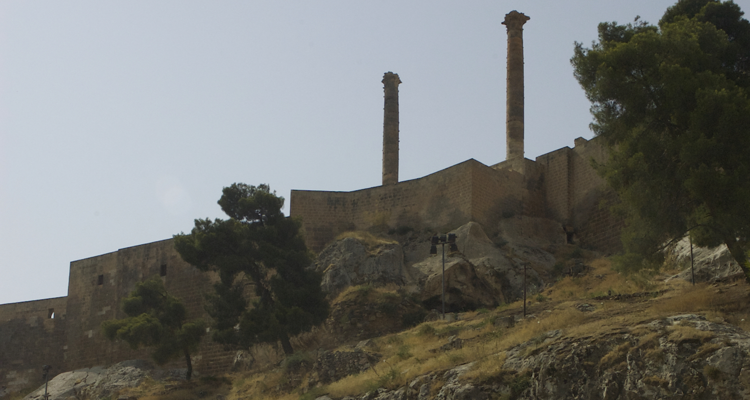 View from the Dergah to the citadel and the twin columns.