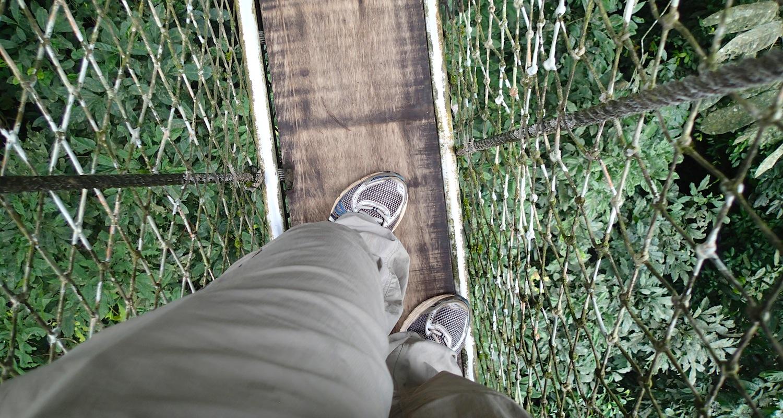 The boardwalk is narrow.
