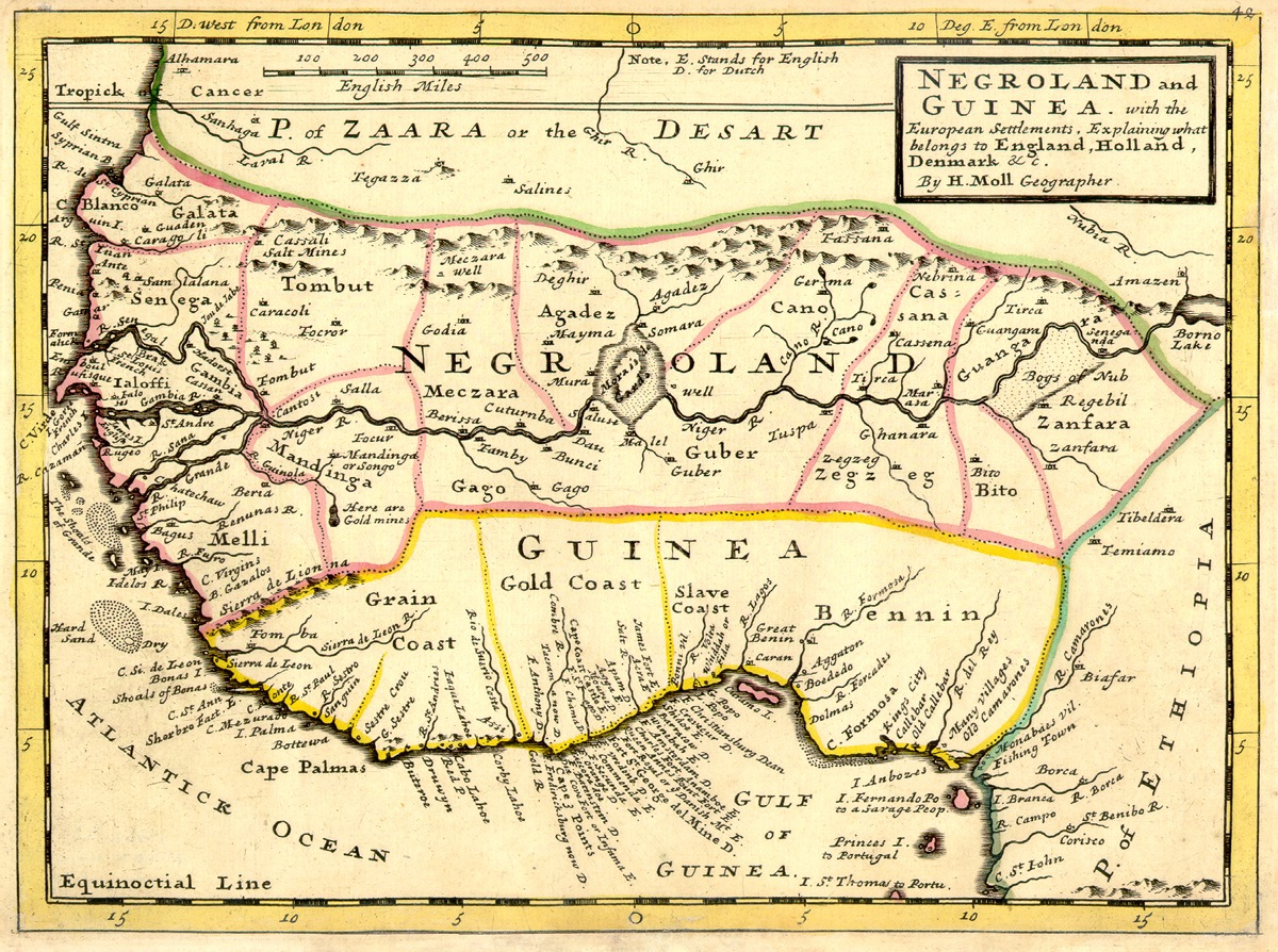 Map of West Africa from 1736. Image posted  here .