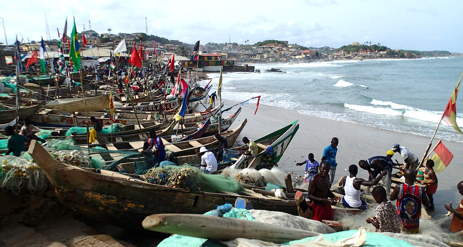 The Cape Coast Beach is full of the activities, colors, and smell of fishing.